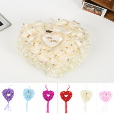 Romantic Wedding Ceremony Satin Crystal Flower Ring Bearer Pillow Cushion Gifts