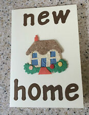Handmade unusual pretty New Home Moving House card C6  mulberry paper house