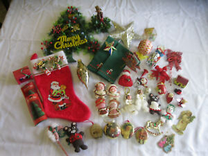 Large Lot Vintage Christmas Decorations, Japan, Taiwan, Handmade