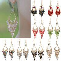 Bohemian Women Crystal Bead Long Tassel Hook Drop Dangle Earrings Jewelry Gifts