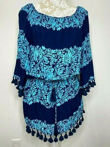 Spiaggia Dolce Blue Dress Pool Resort Cover-Up Travel Cruise Wear Sz XL #F1