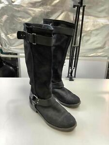 Women's UGG Shiny Black Leather Boots Size 10