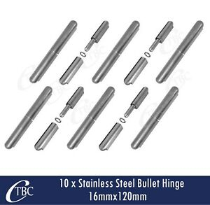 10x Stainless Steel Hinge Bullet Weld 16mmx120mm Window Trailer Gate Caravan Pin