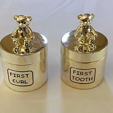 New listing First Curl Haircut /First Tooth Teddy Bear Boxes/ Jar Keepsake Silver Toned