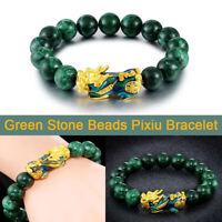Feng Shui Green Stone Beads Bracelets Golden Pixiu Bracelet Bring Lucky Jewelry