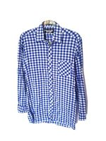 Vintage S M GUTER TIP 100% Cotton Blue White Check 60s 70s Shirt Long Sleeve