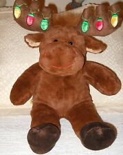 "Build a Bear Christmas Moose With Working Lights On Antlers 18"" Stuffed Animal"
