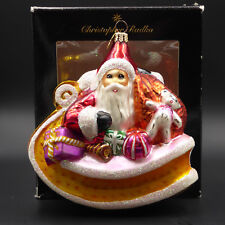 Christopher Radko Ornament Santa Sleigh Toys Glass Christmas Poland 1995 Vintage