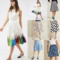 Womens High Waist Skirt 3D Print Skater Pleated Flared Midi A-line Swing Dress