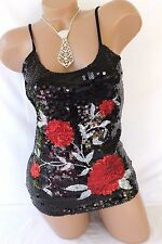 Sequin Tank Top Blouse Womens Black Red Rose Floral Biker Babe Camisole Nwt