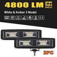 White & Amber 6 Inch LED Work Light Bar Flood Beam OffRoad Driving Fog Lamp 2Pcs