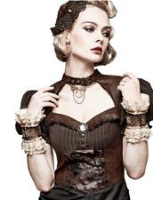 Lace steam punk bracelet cuff beige tan ivory brown buckle bullet Victorian punk
