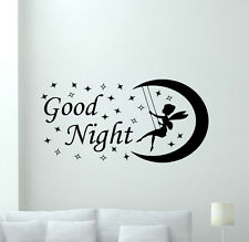 Fairy Wall Decal Moon Stars Good Night Nursery Vinyl Sticker Baby Decor 117hor