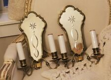 Pair Antique French Brass Etched Mirror Wall Sconces