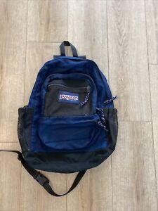 Vintage Jansport Backpack Navy Made In USA Bookbag School Day Pack Hipster Biker