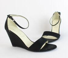 Prada Auth Black Satin Wedge Ankle Strap Shoe Heel Size 6