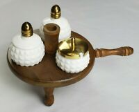 Vintage Japan White Hobnail Milk Glass Salt And Pepper Shaker With Wood Stand