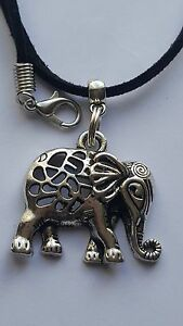 "ELEPHANT TIBETAN SILVER PENDANT CHARM ON BLACK 3MM VELVET CORD  18""NECKLACE."