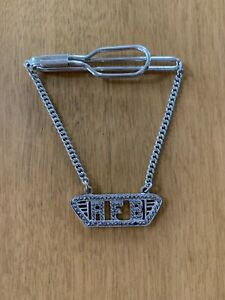 Vintage sterling silver tie bar /tie clasp w/ chain & diamond chip pendant AFB