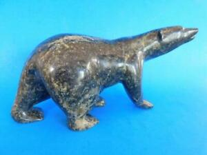 Coastal Native American Inuit 1st Nations Hard Stone Polar Bear Carving Signed