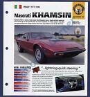 Maserati Khamsin IMP Brochure Specs 1973-1982 Group 2, No 64