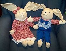 """Vintage Pair of Rabbits Adorable Stuffed Cloth Bunnies measure 17"""" Easter Decor"""