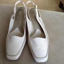 Ladies K by Clarks Soft Leather Slingback Ivory Shoes Size UK 7 Immaculate