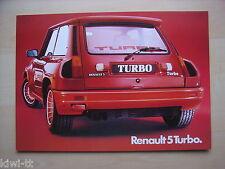 RENAULT 5 TURBO prospectus feuille/Sales sheet, D