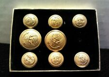 Set of 8 Stanley Blacker Gold Tone Military Uniform Buttons with Anchor & Eagle