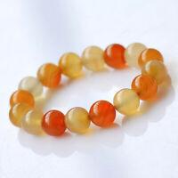 Natural Multi Colour Agate Crystal Bead Men Women Lucky Charm Bracelet Bangle UK