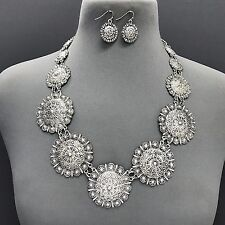 Design Necklace & Earrings Set Silver Finished Different Sized Circle Flower