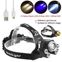 90000LM 5X XM-L T6 LED USB Headlamp Zoom Headlight Camping Fishing Head Torch GA