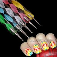 5Pcs x 2 way Dotting Marbleizing Paint Drawing Nail Art Pens Manicure Tools