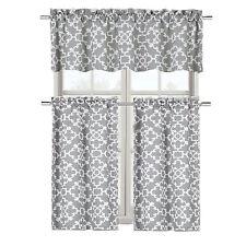 Grey Shabby Premium Cotton Blend 3 Piece Kitchen Curtain Tier & Valance Set