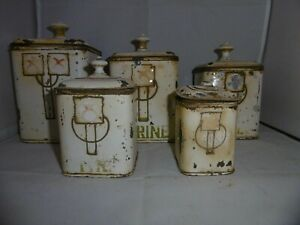 Set of 5 graduated French Art Nouveau kitchen canisters storage containers c1890