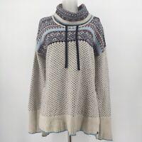 Eddie Bauer Sweater Fair Isle Cowl Neck Pockets Wool Blend Cream Blue Sz Small