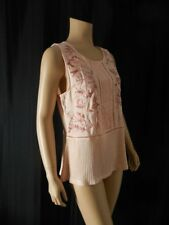 LUCKY BRAND Tank Top T Shirt size Small pink embroidered combo fabric NWT