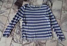 RICH & ROYAL -  hauchzarter Viskose Pullover / Shirt - Gr. Small - blau / silber