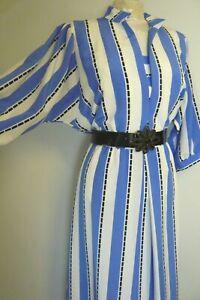 VINTAGE 80s DRESS VIBRANT BLUE WHITE BATWING RACES SUMMER STYLISH COCKTAILS 12