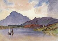 BRITISH CASTLE RUINS IN MOUNTAIN LANDSCAPE Watercolour Painting 19TH CENTURY