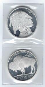 US (2) Two - 1 oz .999 SILVER ROUNDS SilverTowne Native American Buffalo Design