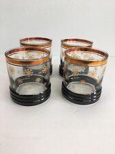 Vintage Bar Lowball Rocks Glasses Winter Snowflake Gold Trim Set 4 Mid Century
