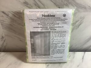 Arcs & Angles Hookless Fabric Shower Curtain Flex-on Rings ,striped green 71x74