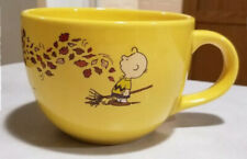 Peanuts snoopy coffee mug cup soup bowl Halloween charlie brown leaves fall