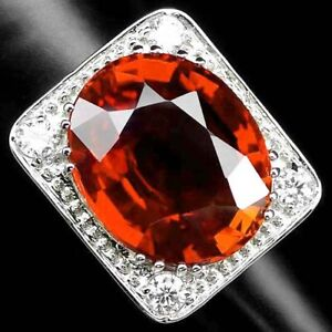 AAA ORANGE SAPPHIRE RING SIZE 6.25 OVAL 16.10 CT. 925 STERLING SILVER JEWELRY