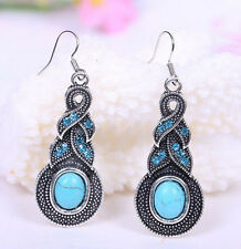 Costume Jewelry Silver Turquoise Rhinestone Diamante Earrings Necklace Sets