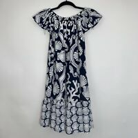 Crown And Ivy Womens Sea Horse Print Off The Shoulder Dress Blue White Size XS