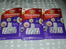 3M Command Adjustables Clear Repositionable 6 Clips 12 Strips/each - 3 Packs