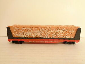 Tyco Southern Railroad 4365 Log Car HO Scale Railroad Train Car Missing Cupler