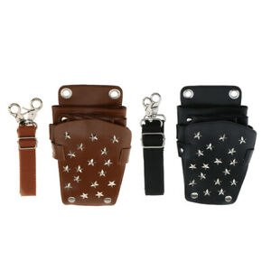 1Pcs Leather Scissor Pouch Holster, Barber Bag with Belt for Hairdressers, Hair